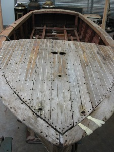 Forward deck with planks loose ready to remove.
